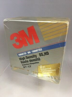 """Brand New Sealed Pack of 10 3M Formatted IBM 3.5"""" High Density Diskettes"""