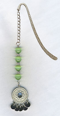 Lovely Beaded Tibetan Silver Bookmark Great Gift Green Catseye Beads