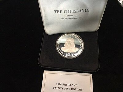 $25 dollar 1974 Fiji - 100th anniversary of cession to Great Britain - Silver
