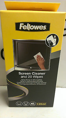 2 x Fellowes Screen Cleaner and 20 Wipes (CRC99701)