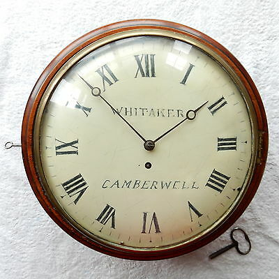 """ANTIQUE MAHOGANY 8 DAY CONVEX FUSEE 12"""" DIAL CLOCK Whitaker of Camberwell 1800c"""