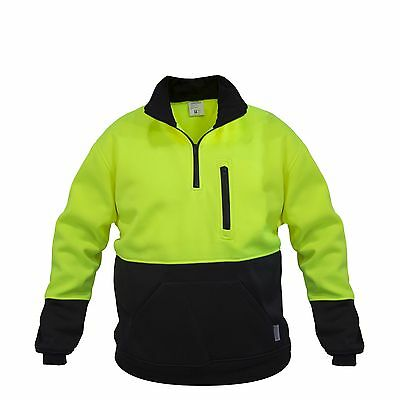 Hi-Vis Pullover Safety Workwear Fleece-lined Fleecy Zip Jumper Jacket Jorestech