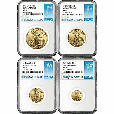 2017 Gold American Eagle 4pc Set MS70 NGC First Day Issue Label