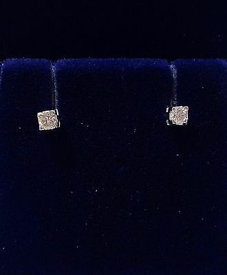 18ct White Gold Diamond Solitaire Stud Earrings - 0.10ct