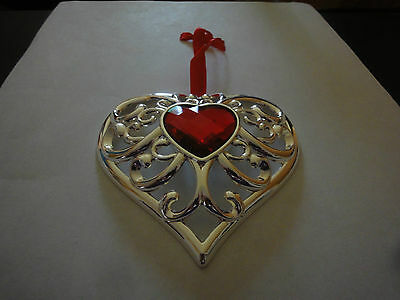 """Lenox Red Bejeweled Silverplated Heart Ornament 2015 New in Box 3 1/2 x 3 1/2"""""""