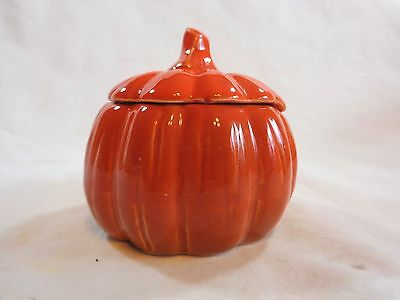 """PUMPKIN CANDLE Unscented with Lid 3"""" Ceramic Orange Fall Halloween Decor"""