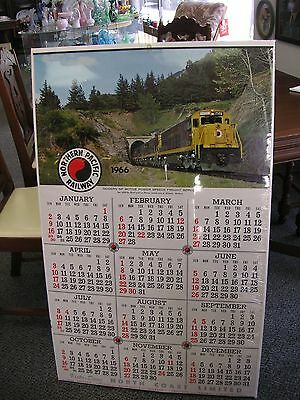 "Vintage Northern Pacific Railway 1966 Calendar 25.5"" x 42"" Good Condition As Is"