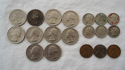 US Coins Quarters Dimes and Wheat Penny Lot FREE SHIPPING