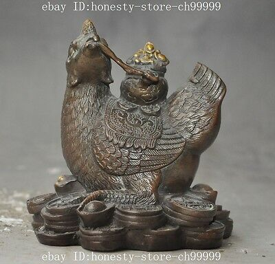 chinese bronze fengshui Zodiac Rooster Chicken wealth yuanbao money lucky statue