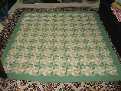 "VTG ESTATE ANTIQUE HAND QUILTED QUILT GREEN PINWHEEL DESIGN 86""x80"""