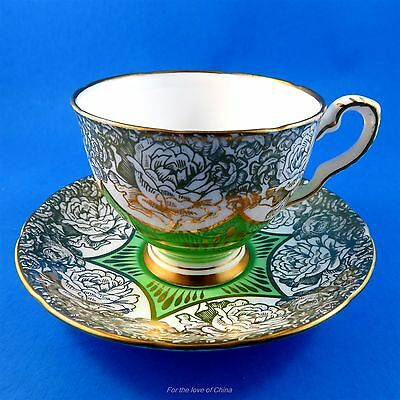 Green with Gold Floral Design Royal Stafford Tea Cup and Saucer Set