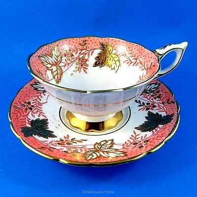Gold Leaf Berry & Peach Royal Stafford Cup and Saucer