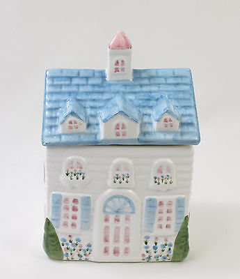 Cookie Jar Blue House Soft Pastel Colors Large 2 Story Country Home