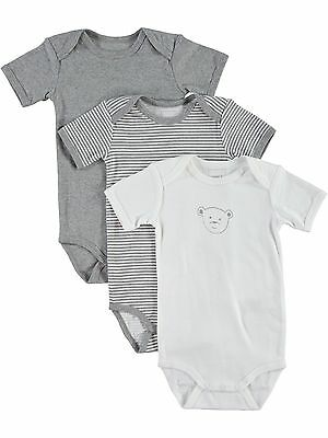 NAME IT 3er kurzarm Body Set in grau weiß Teddy Größe 50 bis 98