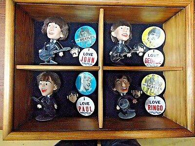Super RARE Beatles Collection - Fab Four NEMS Dolls, Pins & Display Case