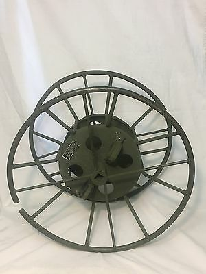 """US MILITARY TELEPHONE CABLE REEL ELECTRICAL WIRE HOSE SPOOL STEEL 25"""" x 14"""" VGC"""