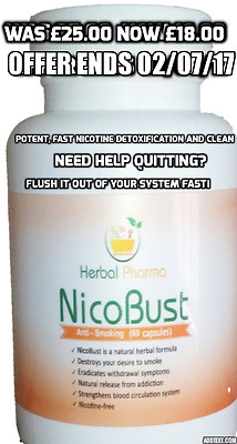 NICOBUST - 60 caps. WITHOUT NICOTINE PILLS 100% STOP QUIT SMOKING FULL TREATMENT