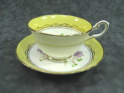 Tuscan Fine English Bone China Collectible Cup & Saucer Floral Yellow Edge 7900
