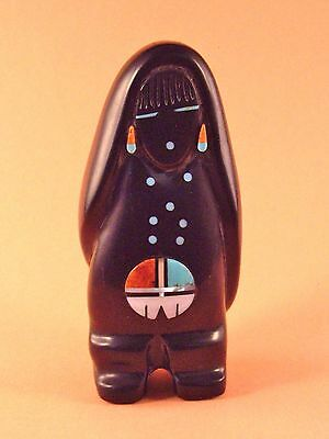 Andres Lementino-Black Marble Corn Maiden w/ Sunface-Zuni Fetish-Stone Carving