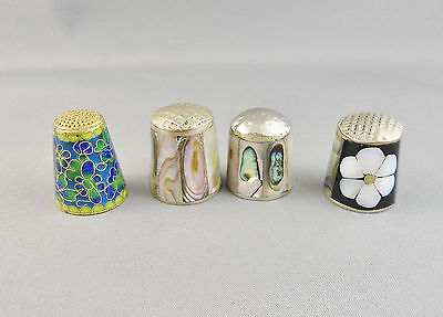 Vintage Thimbles X 4 Abalone Inlaid,enameled Floral Silver Brass
