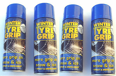 NEW FOUR Winter Tyre chain 400ml Cans of Spray on Tyre Grip For Ice and Snow