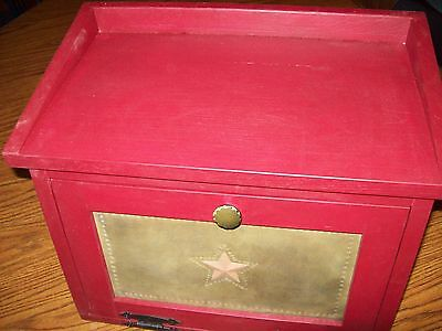 Vintage Style Bread Box with Hand Punched Star in Door Finished Colonial Red