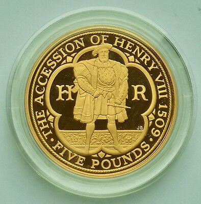 CHOICE PROOF 2009 Gold £5 (Case & COA) - 500th Anniversary Accession Henry VIII