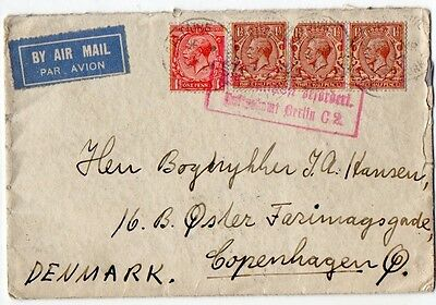 G.B.: 1930 Airmail cover to Denmark from Saltaire Yorks, via Berlin
