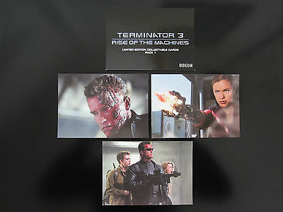 """TERMINATOR 3 Odeon Promo 4 LIMITED EDITION 6"""" x 4 1/4"""" Cards 2003 PACK 1"""