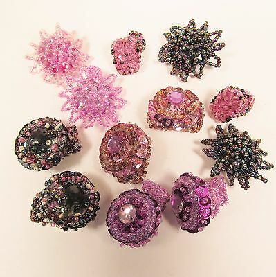 12 PCS  Handmade Beaded Stretch Rings WHOLESALE LOT Purple Pink Colors Assorted