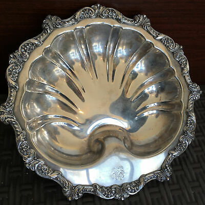 Antique Silver Plated Tray Sea Shell Old English by Poole