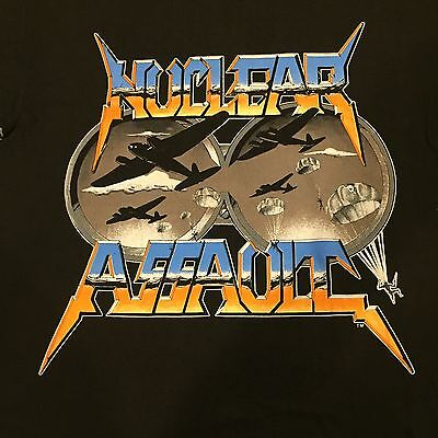 Vtg NUCLEAR ASSAULT On Amerika Tour T Shirt Handle With Care Thrash Metal SOD