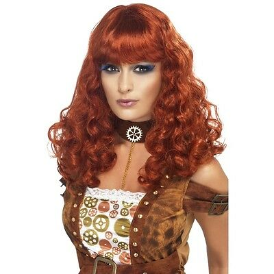 Womens Steam Punk Wig Red Curly Long Hair Bangs Halloween Steampunk Adult NEW