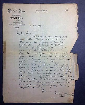 Dudley Hardy, Artist, ALS, SIGNED letter from France to Sidney Sime, 1899
