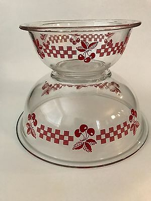 PYREX Cherry cherries checker board gingham red glass mixing bowls 2