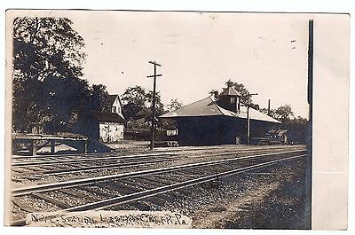 RPPC 1907 Railroad Depot  Larry's Creek PA - Real Photo Postcard NYC RR Piatt
