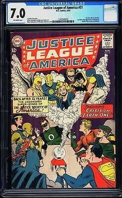 Justice League of America 21 CGC 7.0 Silver Age Key DC Crossover Begin IGKC L@@K