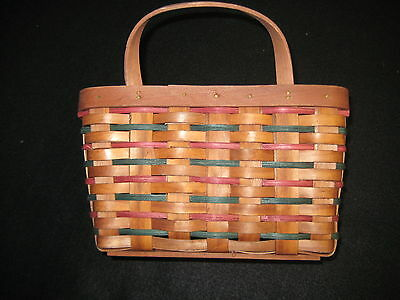Red Wood Wall Basket with Red & Green Trim in Excelent Condition