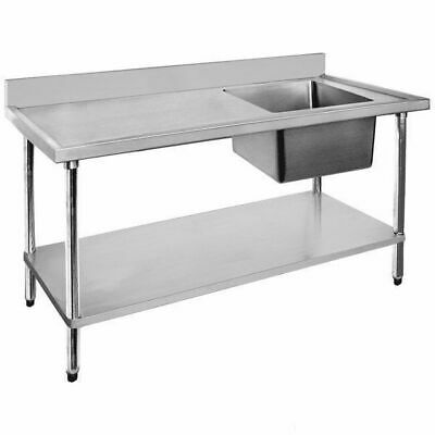 Sink with Left Drainer, Single Bowl, Stainless Steel, 1200x600x900mm Commercial
