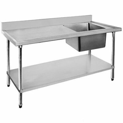 Sink with Left Drainer Single Bowl Stainless Steel 1500x600x900mm Commercial