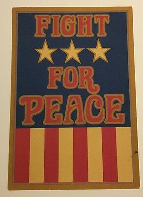 Vintage Poster Fight For Peace Anti-War Pin-up 1960's Hallmark Vietnam USA flag