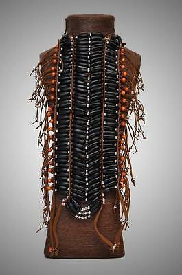 ETHNIC TRIBAL INDIAN NATIVE AMERICAN Black Beaded Plastic BREAST PLATE BODYWEAR