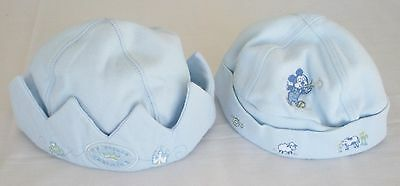 Baby Infant Caps Hats, Disney, Boy Pale Blue, Lot of 2, Mickey Mouse Prince
