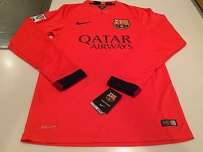 Team FC Barcelona Authentic Long Sleeves Jersey Orange Soccer XX-Large Football