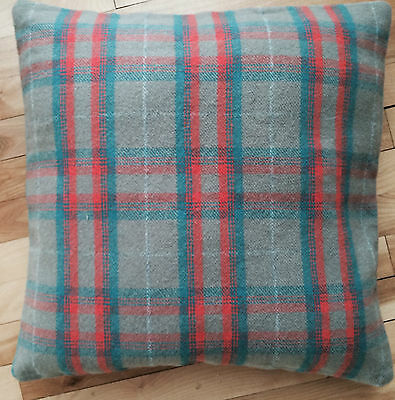 "Nwt Faribault Mill Minnesota Wool Blanket Co Macalester Plaid Pillow Case 20"" Sq"