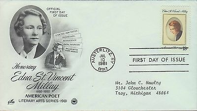 1981 - Fdc - Honoring Edna St Vincent Millay - American Poet