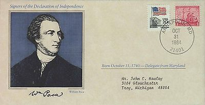 1984 - Us Cover Signers Declaration Of Independence - William Paca -Annapolis Md