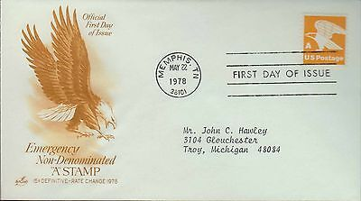 1978 - Fdc - Emergency Non Denominated A Stamp - Memphis Tn - 22 May