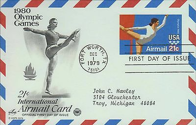 1979 - Fdc Postcard - 1980 Olympic Games - 21 Cent Airmail Card
