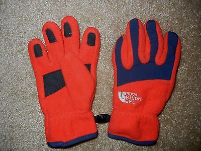 THE NORTH FACE Bright Red Warm FLEECE GLOVES Winter Ski Size YOUTH SMALL Kids